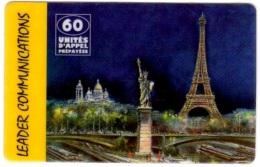 Bar 51 - Vue De Paris Avec Statue De La Liberté, Tour Eifel, Sacré Coeur Et Péniches Syr Le Seine - Peinture