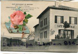 - CAFE RESTAURANT DE MONTMAY - à QUINCIE, Chatelet Propriétaire, Parfumée, Joli Rose, Rare, TBE, Scans. - Altri Comuni