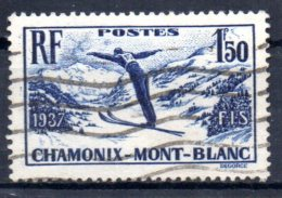 FRANCE    N° 334 Oblitere  Saut A Ski Chamonix - Sci