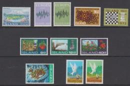 1972 ** Islande (sans Charn., MNH, Postfrish) Complete Yv 413/23  Mi 460/70  FA 497/507  (11v) - Island