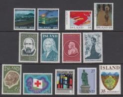 1975 ** Islande (sans Charn., MNH, Postfrish) Complete Yv 453/65  Mi 500/12  FA 537/49 (13v) - Island