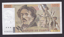 FRANCE : BILLET  100 FRANCS DELACROIX 1985 -  (2 Scan) - 1962-1997 ''Francs''