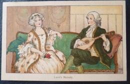 LITHO ART NOUVEAU ILLUSTRATEUR FAULKNER 1081  F. HARDY COUPLE MARQUIS MARQUISE SUR DIVAN MANDOLINE - Hardy, Florence