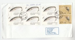 1999 Air Mail CHINA COVER Franked 8 X STAMPS (6 X STURGEON FISH, 2 X CAMEL) To Netherlands - Fishes