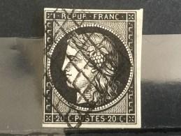 FRANCE  YT N°3.  Oblitéré°. 1849.  Côte 60 € - 1849-1850 Ceres