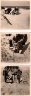 3 Petites Photos Originales Plage Et Maillot De Bain - Couple Amoureux Romantique En Cabine De Plage - Pin-ups