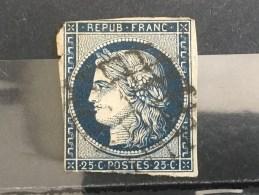 FRANCE  YT N°4.  Oblitéré°. Bleu Foncé.1850.  Côte 70 € - 1849-1850 Ceres