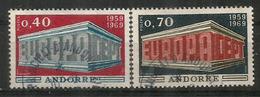 ANDORRE/ANDORRA.  EUROPA 1969, Deux Timbres Oblitérés. 1 ère Qualité