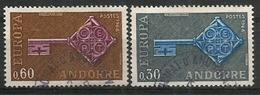 ANDORRE/ANDORRA.  EUROPA 1968, Deux Timbres Oblitérés. 1 ère Qualité