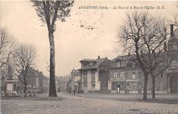 59-ANNAPPES- LA PLACE ET LA RUE DE L´EGLISE - Andere Gemeenten