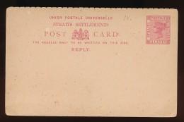 STRAITS SETTLEMENTS, Q Victoria, 3c Postcard, Reply Half, Very Fine - Straits Settlements