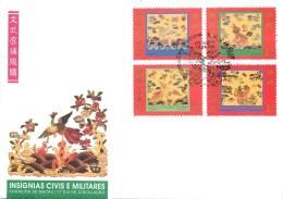 """CHINE - MACAU - SERIE De 4 TIMBRES SUR FRAGMENT DE LETTRE - 1996 - """"INSIGNES MILITAIRES"""" - Série N° 826 à 829 - 1999-... Région Administrative Chinoise"""