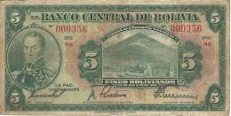 BOLIVIA 5 BOLIVIANOS 1928 P-120a VF  [BO120a 7 2] - Bolivia