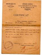 Compagnie Omnibus Paris Certificat De Travail 1913 - Collections