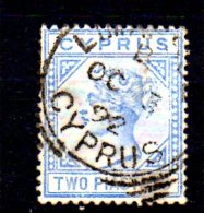 T448 - CIPRO , 2 Piastre N. 19 Pl 1 Usato  . - Cyprus (...-1960)