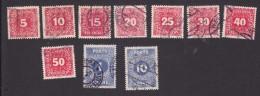 Austria, Scott #J49-J57, J59, Used, Postage Due, Numbers, Issued 1916 - Segnatasse