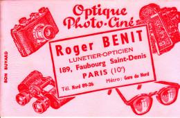 BUVARD OPTIQUE PHOTO-CINE ROGER BENIT PARIS 22X14 BON ETAT VOIR SCAN - Blotters