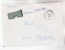 1973 Bettna SWEDEN COVER UNDERPAID Losen 150o POST LABEL Mailed Without Stamps To Stockholm - Sweden
