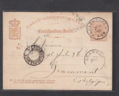 E.P. 10 CENT. BRUN.CONVOYEUR LUXEMBOURG PAR BRUXELLES POUR GRAMMONT 1878. - Ganzsachen