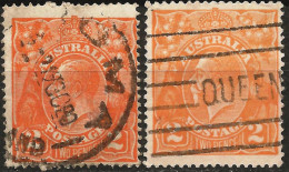AU 1914-1924 Scott 27 27a Used 2 Stamps - Used Stamps