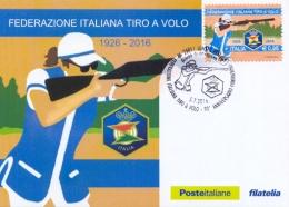 Italia 2016 FDC Maximum Card 90° Anniversario Fondazione Federazione Italiana Tiro A Volo - Tiro (armi)