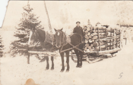 Real Photo - Horses Carrying Wood On A Sleigh - Animated - To Identify - 2 Scans - Damaged Corner - A Identifier
