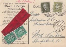 DR Karte Eilbote Mif Minr.2x 411, 417,465 Ratzebuhr 5.5.32 Gel. Nach Berlin - Deutschland