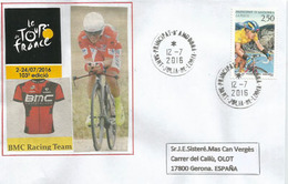 Tour De France 2016, étape Vielha Val D'Aran.Espagne / Andorre, 12 Juillet 2016,lettre équipe BMC Racing Team, - Ciclismo