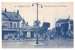 CPSM Corbeil Essonnes 91 Essonne Place De La Gare Rue Jean Jaurès Restaurant Terminus Vieux Tacots édit Blain N°58 - Corbeil Essonnes