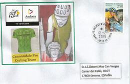 Tour De France 2016, étape Vielha Val D'Aran.Espagne / Andorre, 12 Juillet 2016,lettre équipe Cannondale ProCycling Team - Ciclismo