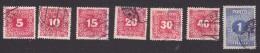 Austria, Scott #J49-J52, J54-J55, J57, Used, Postage Due, Numbers, Issued 1916 - Taxe