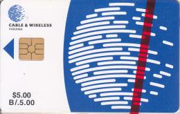 PANAMA - C & W Logo, First Issue $5, Chip GEM2.1, Mint