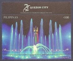 Philippines 2014 Quezon City 75 Years - Celebrate Diamond Jubilee 1939-2014, Artistic Musical Fountain M/S - MNH - Philippines