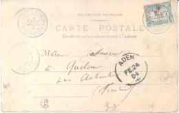 1904 ADEN A QUELEN FINISTERE FRANCE - SOMALI COAST TO FRANCE POSTCARD SENT VIA ADEN A REMOTISIME PLACE IN FRANCE - Afars Et Issas (1967-1977)