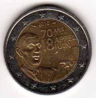 France 2€ Commémorative 2010 : 70 Ans Appel 18 Juin 1940 : Charles De Gaulle - France