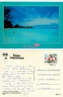 Beach Scene, Barbados Postcard Posted 1993 Stamp - Barbados