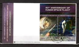 """ONU (New-York) 2011 : Enveloppe 1er Jour FDC """" 50 ANS DU 1er VOL SPATIAL HABITE / ETOILES / GAGARINE .. """". Parfait état. - Raumfahrt"""