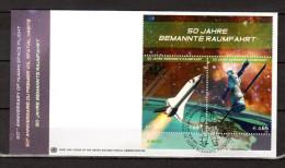 """ONU (Vienne) 2011 : Enveloppe 1er Jour FDC """" 50 ANS DU 1er VOL SPATIAL HABITE / ETOILES / GAGARINE .. """". Parfait état. - Raumfahrt"""