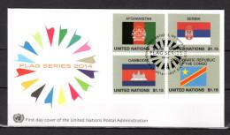 """(Faciale = 4.10 €) ONU (New-York) 2014 : Enveloppe 1er Jour FDC """" FLAG SERIES / DRAPEAUX """". Parfait état. - Buste"""