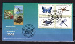 """(Faciale = 3.50 €) ONU (Genève) 2009 : Enveloppe 1er Jour FDC """" INSECTES EN DANGER """". Voir Scan. Parfait état - Insectes"""