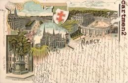 SOUVENIR DE NANCY MULTIVUES STYLE GRUSS CROIX DE LORRAINE 1900 Famille Louyot Rue Mazelle Metz - Nancy