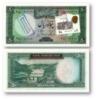 IRAN - 50 Riyals ( 1971 ) Pick 90 Sign. 13 Unc. Stamp & Overprints - Type VII Portrait Of Shah Pahlavi - Irán