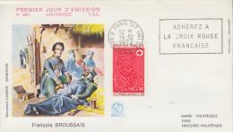 Enveloppe  FDC  Flamme  1er  Jour  CROIX  ROUGE    BROUSSAIS  1972 - 1970-1979