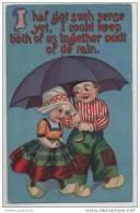 Dutch Children Wearing Clogs-  Sharing An Umbrella - Illustrators & Photographers