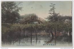 Japanese Ornamental Garden With Arched Wooden Bridge -  Tokyo -Japan - Bridges
