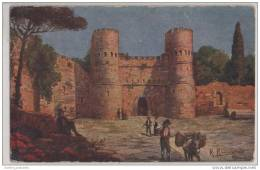 Roma Lazio, Porta S. Paolo -  Artist Signed R Raimondi - Italy - Castles