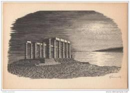 Artist Signed - Renos Joannides - Sunion (Temple Of Poseidon) Under Moonlight - Monuments