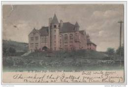 Hulst High School, Iron Mountain, Michigan USA - Hand Coloured - Rare Postmark - Schools