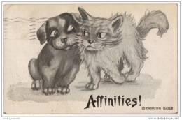 Affinities - Artist Drawn - Cat & Dog Making Friends (F A Moss) - Dogs