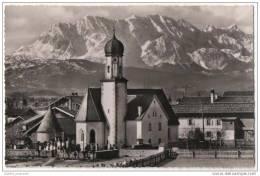 Wallgau 900m Mit Wetterstein, Dreitorspitze - Real Photo Card - Churches & Cathedrals